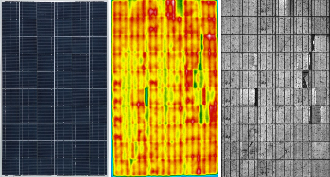 from the left: Normal visible image of panel, thermal infrared image, electroluminescence image